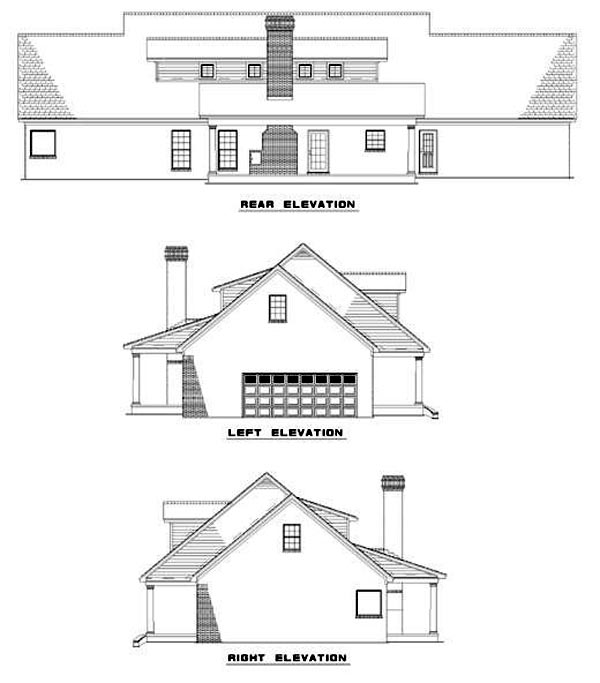 Traditional House Plan 61184 Rear Elevation