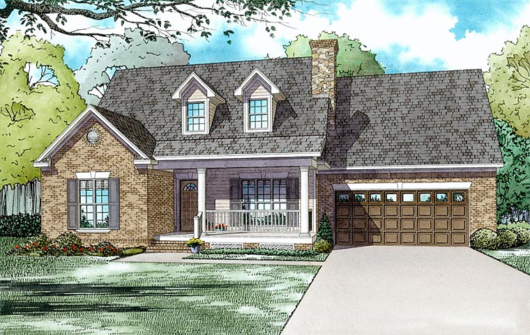 Traditional House Plan 61185 with 3 Beds, 3 Baths, 2 Car Garage Elevation