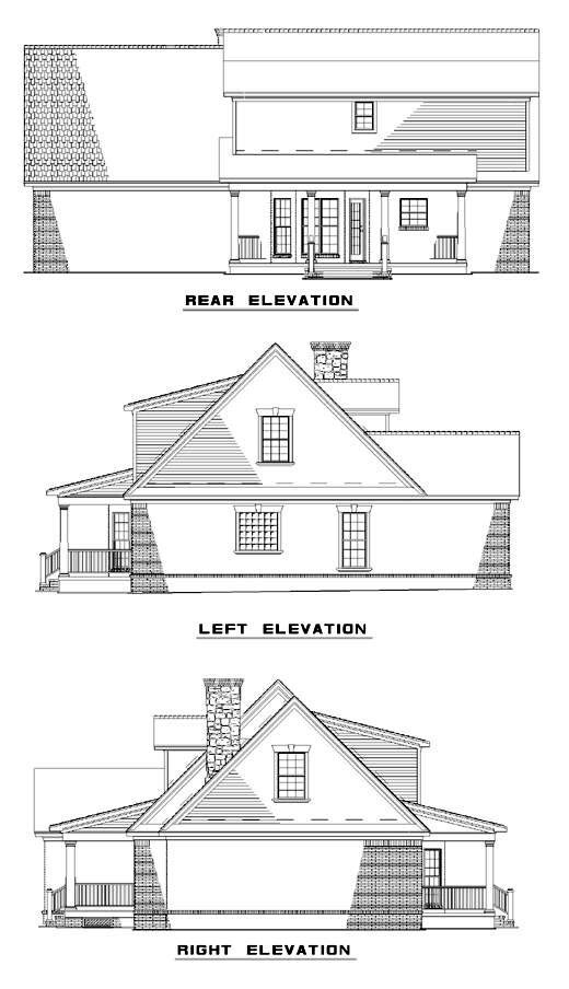 Traditional House Plan 61185 with 3 Beds, 3 Baths, 2 Car Garage Rear Elevation