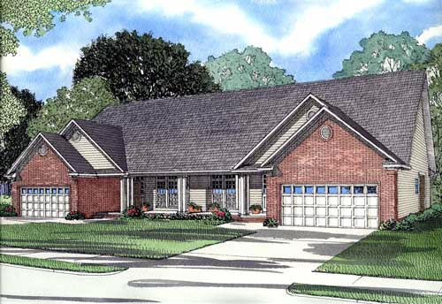 Traditional Multi-Family Plan 61191 Elevation