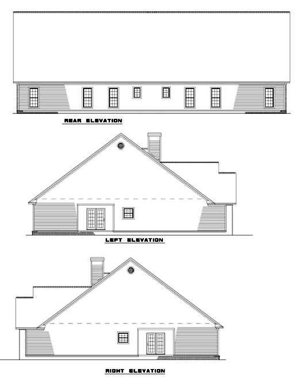 Traditional Rear Elevation of Plan 61191