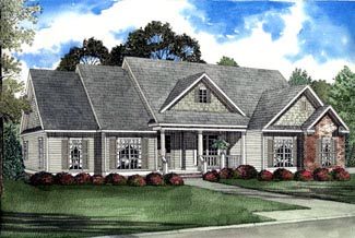 One-Story Southern Elevation of Plan 61192