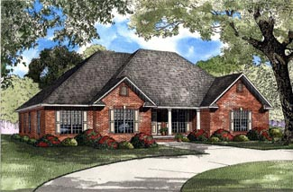 One-Story, Traditional House Plan 61193 with 4 Beds, 2 Baths, 2 Car Garage Elevation