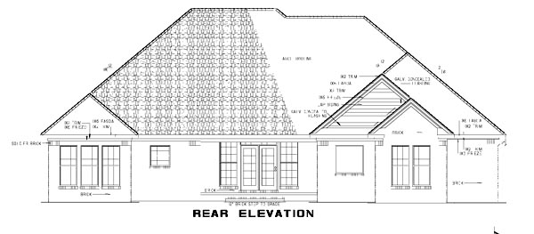 One-Story, Traditional House Plan 61193 with 4 Beds, 2 Baths, 2 Car Garage Rear Elevation