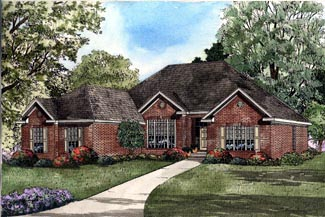 One-Story, Traditional House Plan 61194 with 4 Beds, 2 Baths, 2 Car Garage Elevation