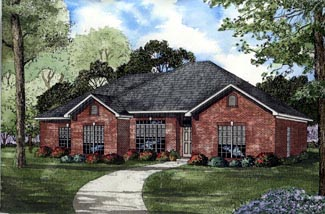 One-Story, Traditional House Plan 61195 with 4 Beds, 2 Baths, 2 Car Garage Elevation