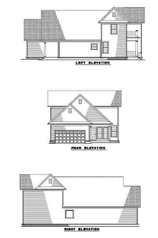 Narrow Lot, Southern House Plan 61199 with 3 Beds, 3 Baths, 2 Car Garage Rear Elevation