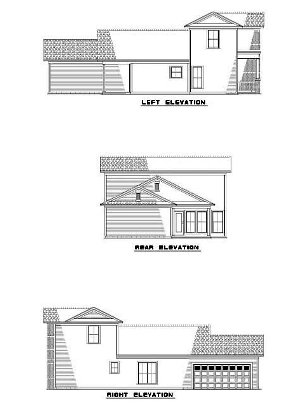 Colonial House Plan 61200 Rear Elevation