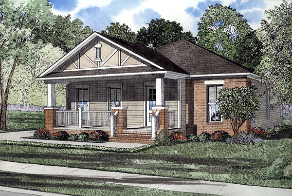 Bungalow Narrow Lot One-Story Elevation of Plan 61201