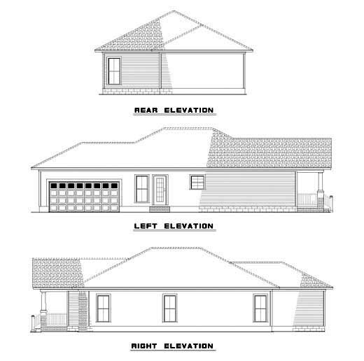 Bungalow Narrow Lot One-Story Rear Elevation of Plan 61201
