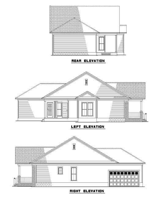 Colonial House Plan 61202 Rear Elevation