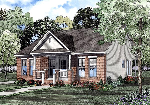 Colonial Narrow Lot One-Story Elevation of Plan 61203