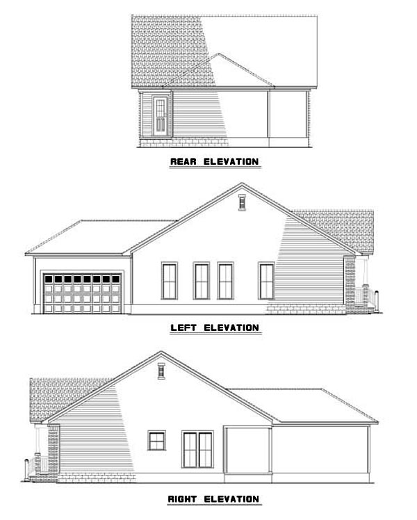 Colonial Rear Elevation of Plan 61203