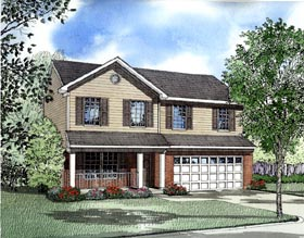 Traditional House Plan 61210 with 4 Beds, 3 Baths, 2 Car Garage Elevation