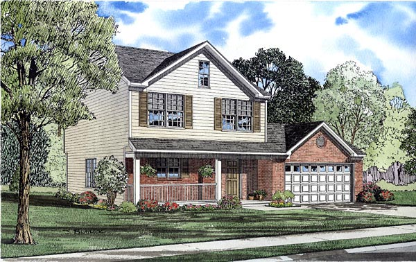 Traditional House Plan 61211 with 3 Beds, 3 Baths, 2 Car Garage Elevation