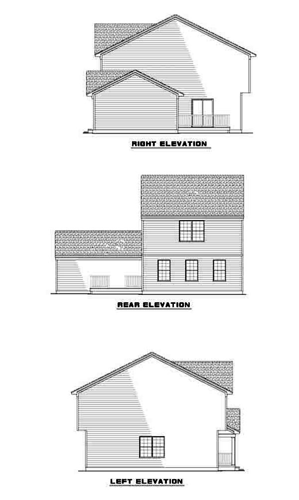 Traditional House Plan 61211 with 3 Beds, 3 Baths, 2 Car Garage Rear Elevation