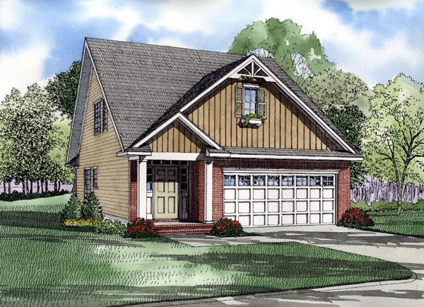 Narrow Lot House Plan 61214 with 3 Beds, 3 Baths, 2 Car Garage Front Elevation