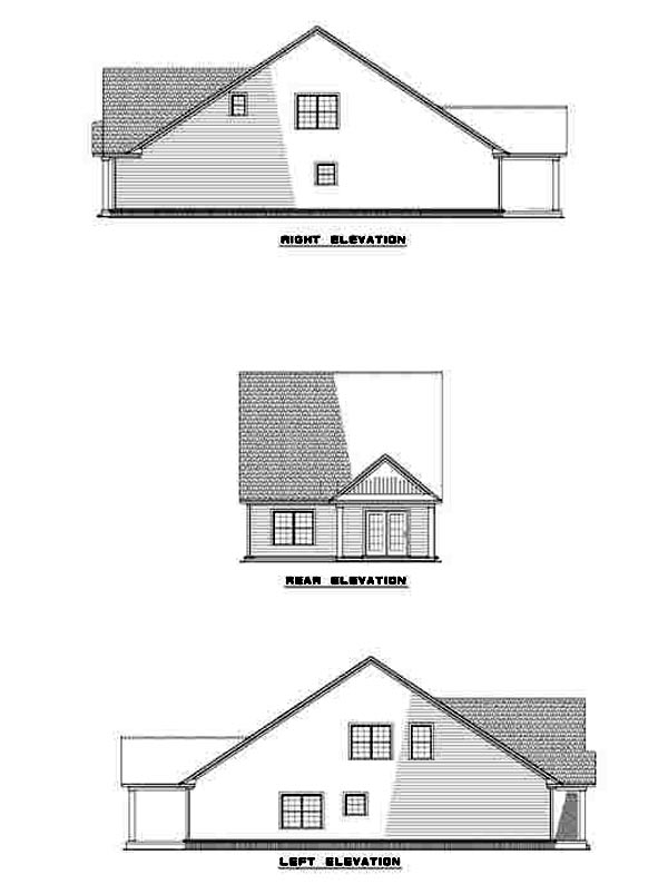 Narrow Lot House Plan 61214 with 3 Beds, 3 Baths, 2 Car Garage Rear Elevation