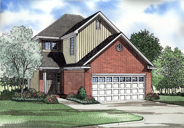 Narrow Lot, Traditional House Plan 61215 with 3 Beds, 3 Baths, 2 Car Garage Elevation