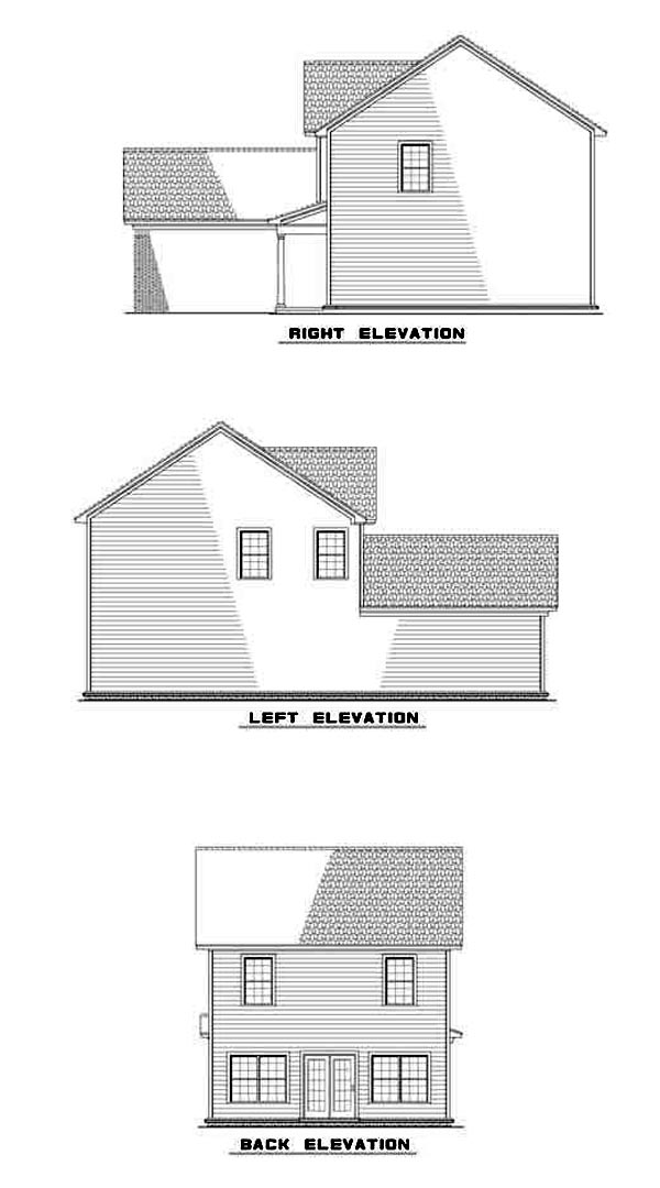 Narrow Lot, Traditional House Plan 61215 with 3 Beds, 3 Baths, 2 Car Garage Rear Elevation