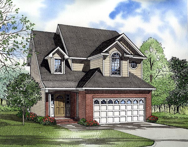 Narrow Lot, Traditional House Plan 61218 with 3 Beds, 3 Baths, 2 Car Garage Elevation