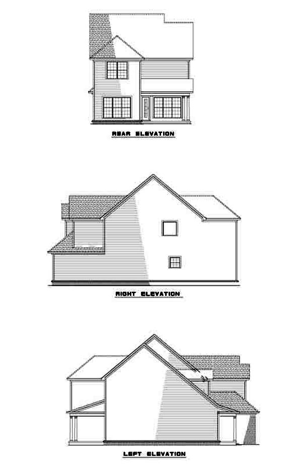 Narrow Lot, Traditional House Plan 61218 with 3 Beds, 3 Baths, 2 Car Garage Rear Elevation