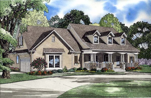 Cape Cod, Country, Traditional House Plan 61219 with 4 Beds, 3 Baths, 2 Car Garage Elevation