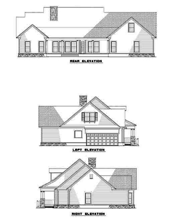 Cape Cod, Country, Traditional House Plan 61219 with 4 Beds, 3 Baths, 2 Car Garage Rear Elevation