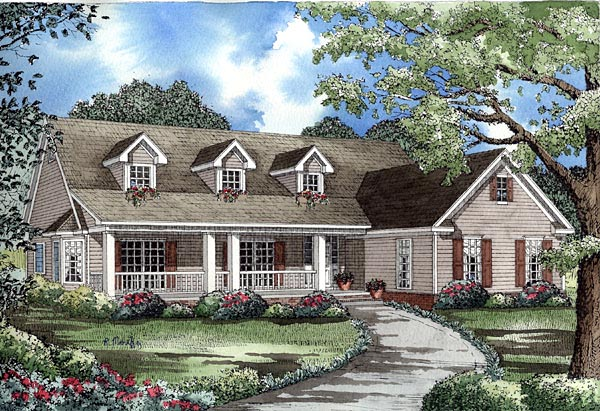 Country House Plan 61222 with 4 Beds, 4 Baths, 2 Car Garage Elevation