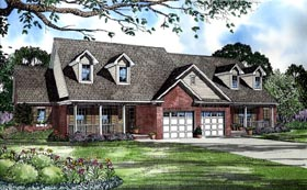 Country Multi-Family Plan 61225 with 3 Beds, 4 Baths, 2 Car Garage Elevation