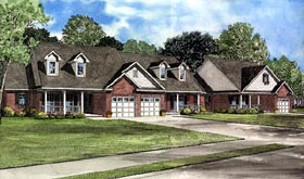 Country Multi-Family Plan 61227 with 5 Beds, 6 Baths, 3 Car Garage Elevation