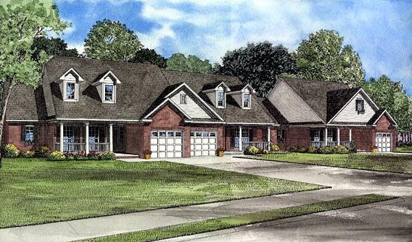 Country One-Story Elevation of Plan 61227