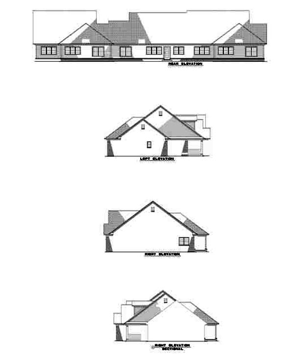 Country One-Story Rear Elevation of Plan 61227