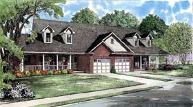 Country Multi-Family Plan 61229 with 4 Beds, 4 Baths, 2 Car Garage Elevation
