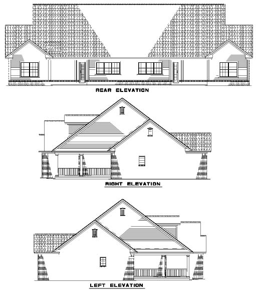 Country Multi-Family Plan 61229 Rear Elevation