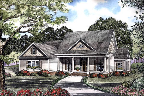 Colonial, One-Story House Plan 61230 with 4 Beds, 3 Baths, 2 Car Garage Elevation