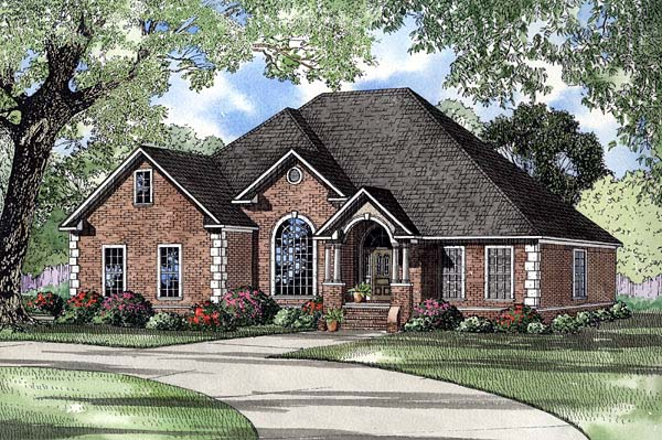 European, One-Story House Plan 61231 with 4 Beds, 3 Baths, 2 Car Garage Elevation