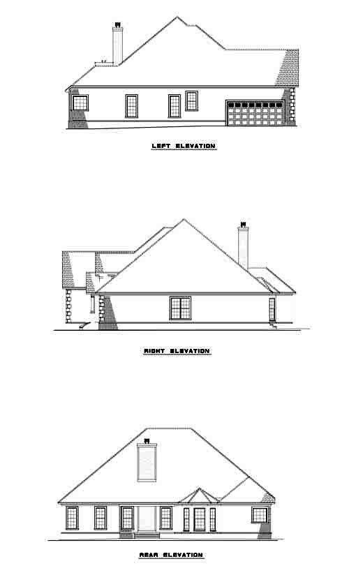 European House Plan 61231 Rear Elevation