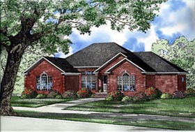 European House Plan 61232 with 3 Beds, 4 Baths, 2 Car Garage Elevation