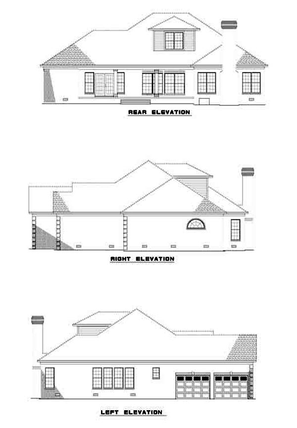 European Rear Elevation of Plan 61232
