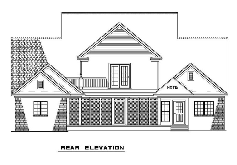 Colonial House Plan 61233 Rear Elevation
