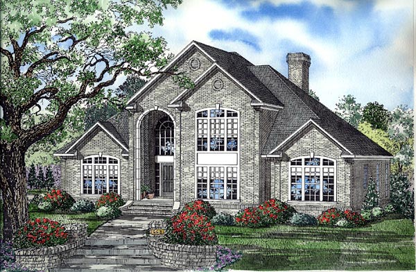 European House Plan 61234 with 3 Beds, 4 Baths, 3 Car Garage Elevation