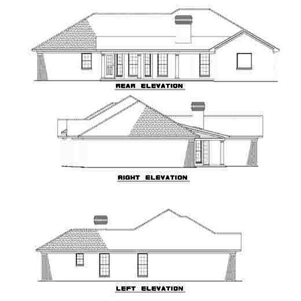 European House Plan 61236 Rear Elevation