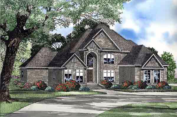 European House Plan 61237 with 4 Beds, 4 Baths, 3 Car Garage Elevation