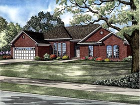 One-Story , Traditional House Plan 61239 with 4 Beds, 2 Baths, 2 Car Garage Elevation