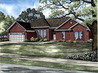One-Story, Traditional House Plan 61239 with 4 Beds, 2 Baths, 2 Car Garage Elevation