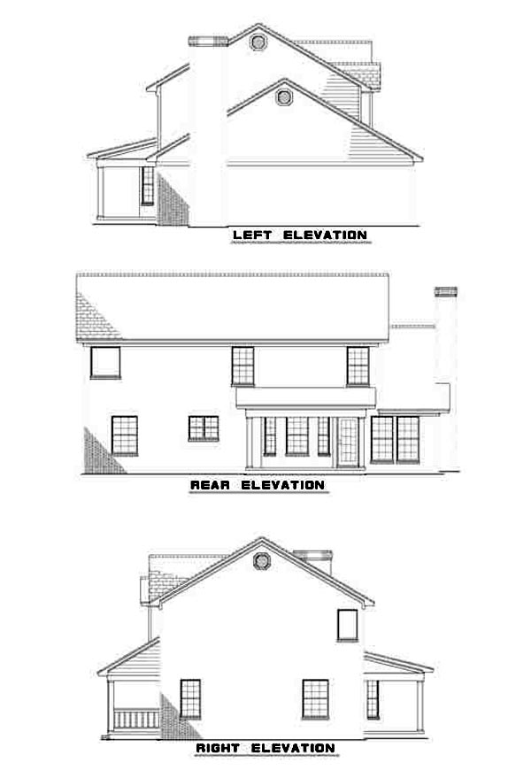 Colonial Rear Elevation of Plan 61246