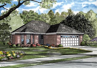 One-Story, Traditional House Plan 61248 with 3 Beds, 2 Baths, 2 Car Garage Elevation
