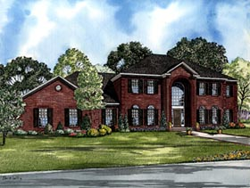 Colonial House Plan 61249 with 4 Beds, 5 Baths, 3 Car Garage Elevation