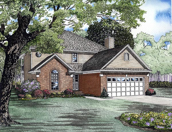 Traditional House Plan 61252 with 3 Beds, 2 Baths, 2 Car Garage Elevation